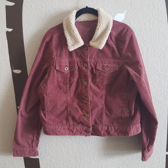 726aa4146 Sonoma Dusty Dark Pink Corduroy Bomber Jacket